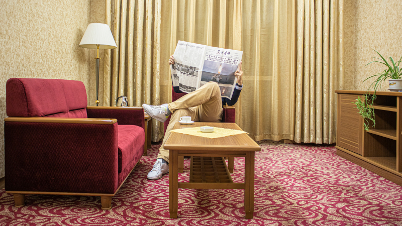 <p>Me in my hotel room in  Pyongyang, 2019, D.P.R.K.</p>