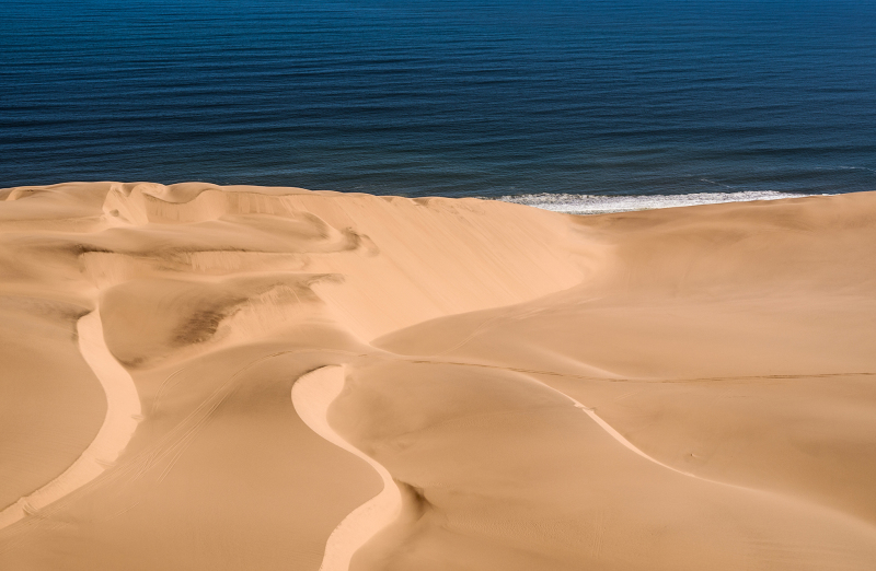 <p>Where the Namib hits the Atlantic Ocean, Namibia.</p>