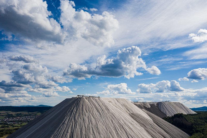 <p>'Monte Kali' near Heringen, 2020, Germany.<br />A Monte Kali, Kaliberg, or Kalimandscharo is the colloquial term for several slag heaps in Germany, which consists of spoil from potash salt production.</p>