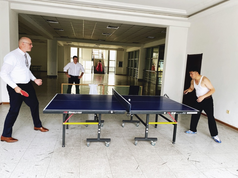 <p>I took a serious ping-pong match against one of the staff <br />of the PUST University in Pyongyang, DPRK. <br />My only viewer and fan was Konstantin Novoselov, <br />Nobel laureate in physics 2011. Photo: Jamie Chan</p>