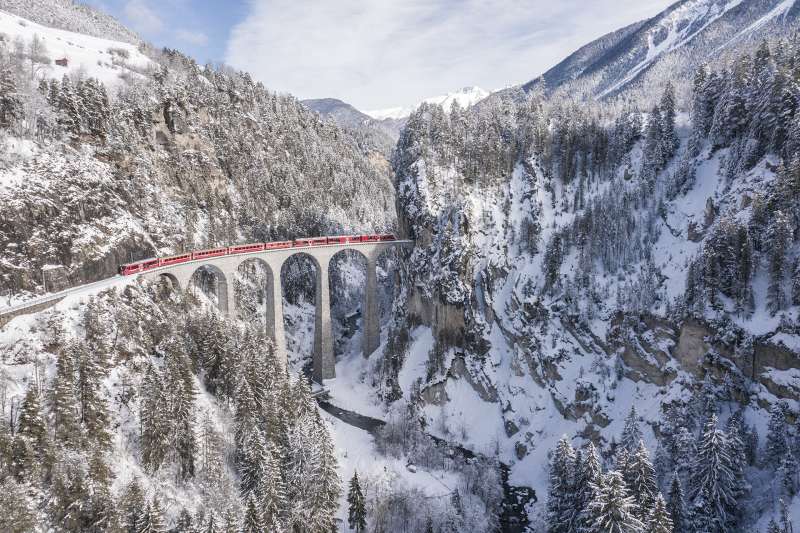 <p>One of the big landmarks in Switzerland - the Landwasser Viaduct. <br />Graubünden, Switzerland.</p>