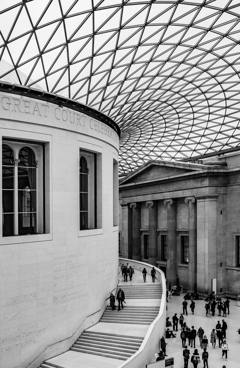 <p>A great place to sit, relax and watch people (and of course some art) – the British Museum, London, UK.</p>