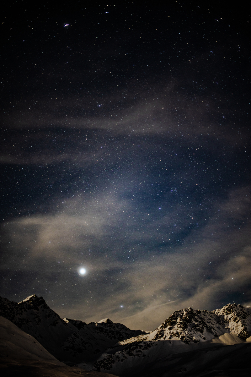 <p>Sirius - the brightest star in our solar system shines above the Swiss Alps. The clear starry sky allows the beautiful scene of light and shadow on the mountain peaks. <span style=