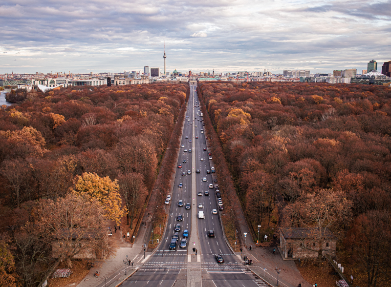 <p>View from the Siegessäule to the Tiergarten and the Brandenburg Gate, Berlin, Germany. </p>
